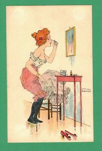 SCARCE EARLY VINTAGE RAPHAEL KIRCHNER ART POSTCARD LADY LADY UNDERWEAR MAKE-UP