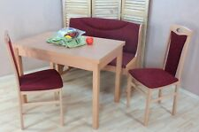 Essgruppe 4-tlg. Tisch-Ausziehbar Stühle Truhenbank Bank Farbe:Buche/Bordeauxrot