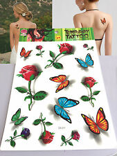 New Waterproof Colorful Removable Temporary Tattoo DIY 3D Rose Butterfly Sticker