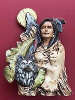 Native Apache Indian Woman With Wolves And Moon Figurine Indigenous Collectible