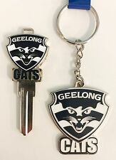SET OF 2 GEELONG CATS AFL TEAM HOUSE DOOR KEY + METAL LOGO KEYRING RING CHAIN