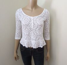 Hollister Womens Sheer Floral Lace Crop Top Size XS White Shirt 3/4 Sleeves