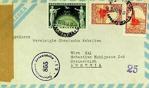 ARGENTINA 1950 3v ON POST WWII CENSOR PASSED AIRMAIL COVER TO WIEN AUSTRIA