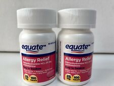 2 Equate Allergy Relief 25 mg Diphenhydramine 200 Total Tablets 8/2019