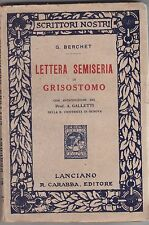 Berchet, Lettera semiseria di Grisostomo, Carabba editore, classici, 1913