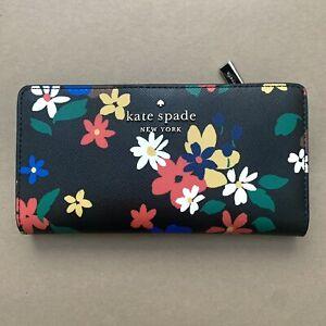 Kate Spade Staci Cameron Sailing Floral Large Slim Bifold Wallet Black Multi