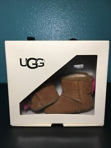 Ugg Jesse Bow II Metallic Dots Bows Chestnut Lined Suede Crib Shoes Boots 0/1