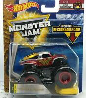 WONDER WOMAN 2018 Hot Wheels Monster Jam Truck Re-crushable Car 1/64 READ