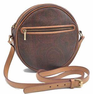Authentic ETRO Paisley Shoulder Cross Body Bag PVC Leather Bordeaux Red D0187