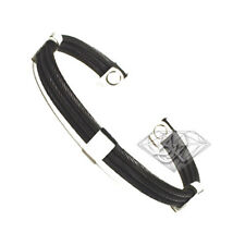 Magnetic Gun Metal Black Trio Stainless Steel Cable Golf Cuff Bracelet S