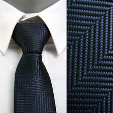 "VoiVoila Men's Classic Slim Narrow Combteeth Jacquard Woven Neck ties-Navy-2¾"""