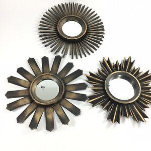 "Accent Hanging Mirror Sunburst Gold/Black Plastic Frame Wall Decor 10"""