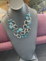 Vintage Necklace Silver Bib statement Sea Glass Blue Chunky  Lucite Cabochon 18""