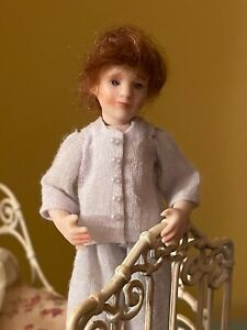 Sweet miniature dollhouse artisan little boy doll