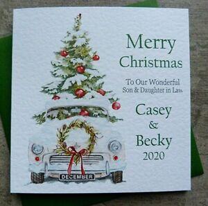 Handmade Personalised Christmas Card Friend Open Mum Dad Wife Sister  BB