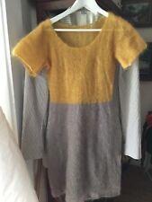 NEW Designer Colorblock Kid Mohair Blend Sweater Dress - S