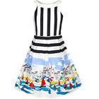 Sunny Fashion Girls Dress Ocean Sailboat Print Striped Halter Dress Size 6-14