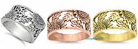 Sterling Silver 925 PRETTY SUN FLOWER DESIGN SILVER BAND RINGS 14MM SIZES 5-12