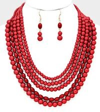 long Red Pearl Multi Layered Strand Statement Bead Chunky Jewelry Necklace Set