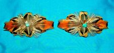 Set 2 Med Feathered Barrettes Pheasant Feathers & Turquoise FREE SHIPPING MBS07