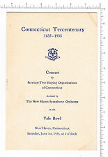 4568 CT Tercentenary 1935 concert program New Haven Symphony Yale Bowl, Ansonia