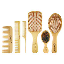Bamboo Wooden Hair Brush Oval Pneumatic Massage Comb Small Massager Antistatic