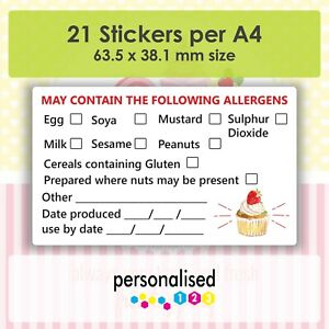 Allergen Stickers May Contain Nuts Food Allergy Labels Cake Sweets Cupcakes Tags