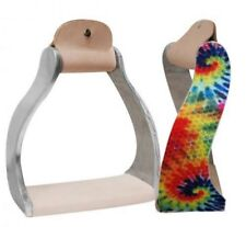 Showman Twisted Angled Aluminum Stirrups w/ Shimmering Tie Dye Print! NEW TACK!!
