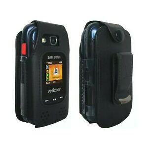 Verizon Fitted Leather Case for Samsung Convoy 4 SM-B690 - Black - New/Open Box