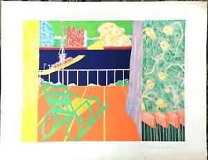 Marion MCCLANAHAN - Grande lithographie paysage marin - signée au crayon