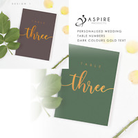 Dark Theme Gold Text Wedding Table Numbers | Wedding stationary | Table Numbers
