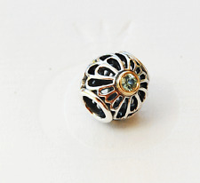 """Genuine Pandora two tone Charm """"Vintage Lace"""" with Green Spinel - 791173SSG"""