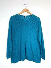 J Jill Blue Cotton Linen Blend Long Sleeve Open Knit V-Neck Sweater Large PL