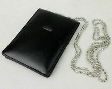 Black Leather Badge ID Card Wallet Holder Case ID Window With Neck Chain-BK