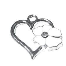 5 pieces 20x20mm fleur coeur en alliage de zinc émail charme pendentifs-blanc-A0060