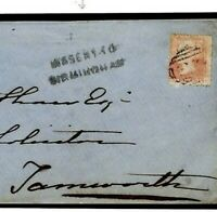 B35a GB WARWICKS Cover *MISSENT TO BIRMINGHAM* 1d Red Atherstone 1857 Tamworth