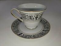 Seyei Fine China Baroness 7013 Cup and Saucer (Black Dragons)