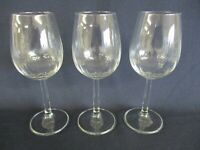 3 x Wine Glasses, Stemmed Contemporary White Glass - 18.5cm High