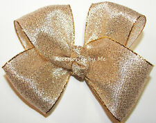 Fancy Gold Lame Hair Bow Metallic Ribbon Baby Girls Toddler Wedding Pageant Clip