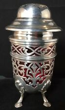 English Sterling Silver Muffineer Sugar Caster Cranberry Glass Insert