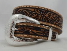 Tony Lama New Floral Tooled Western Taper Leather Belt  Size 32 NWT USA BR5029