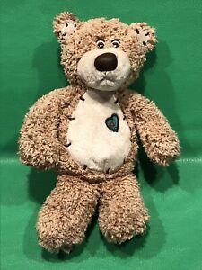 "First and Main Tender Tan Teddy Bear Plush 11"" Blue Heart Patch Stuffed Animal"