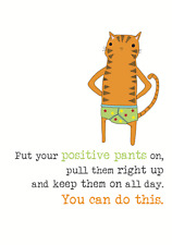 Good Luck Positive Pants Sparkle Finished Greeting Card By Dandelion Stationery