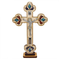 """Wooden Carved Cross INRI with Jesus Crucifix, Holy Soil & Blessed Gemstone 5.4"""""""