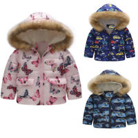 Toddler Kids Baby Girls Boys Lovely Winter Warm Jacket Hooded Windproof Coat