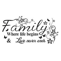 Quote Mural Words Art Vinyl Wall Sticker Home Kitchen Room Decal Decor Family