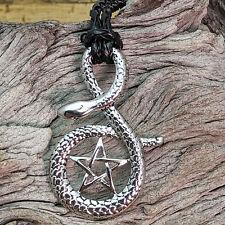 Silver Tone Snake Pentagram Wicca Pendant Necklace