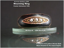 Gold Mourning Ring Seed Pearl Black Enamel Victorian Antique 9ct gold 1899 UK M