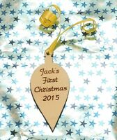 Personalised Babys First Christmas Wooden Hanging Bauble Xmas Tree Decoration