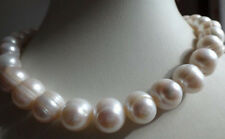 """AAA Natural 12-14MM SOUTH SEA GENUINE WHITE BAROQUE PEARL NECKLACE 18"""""""